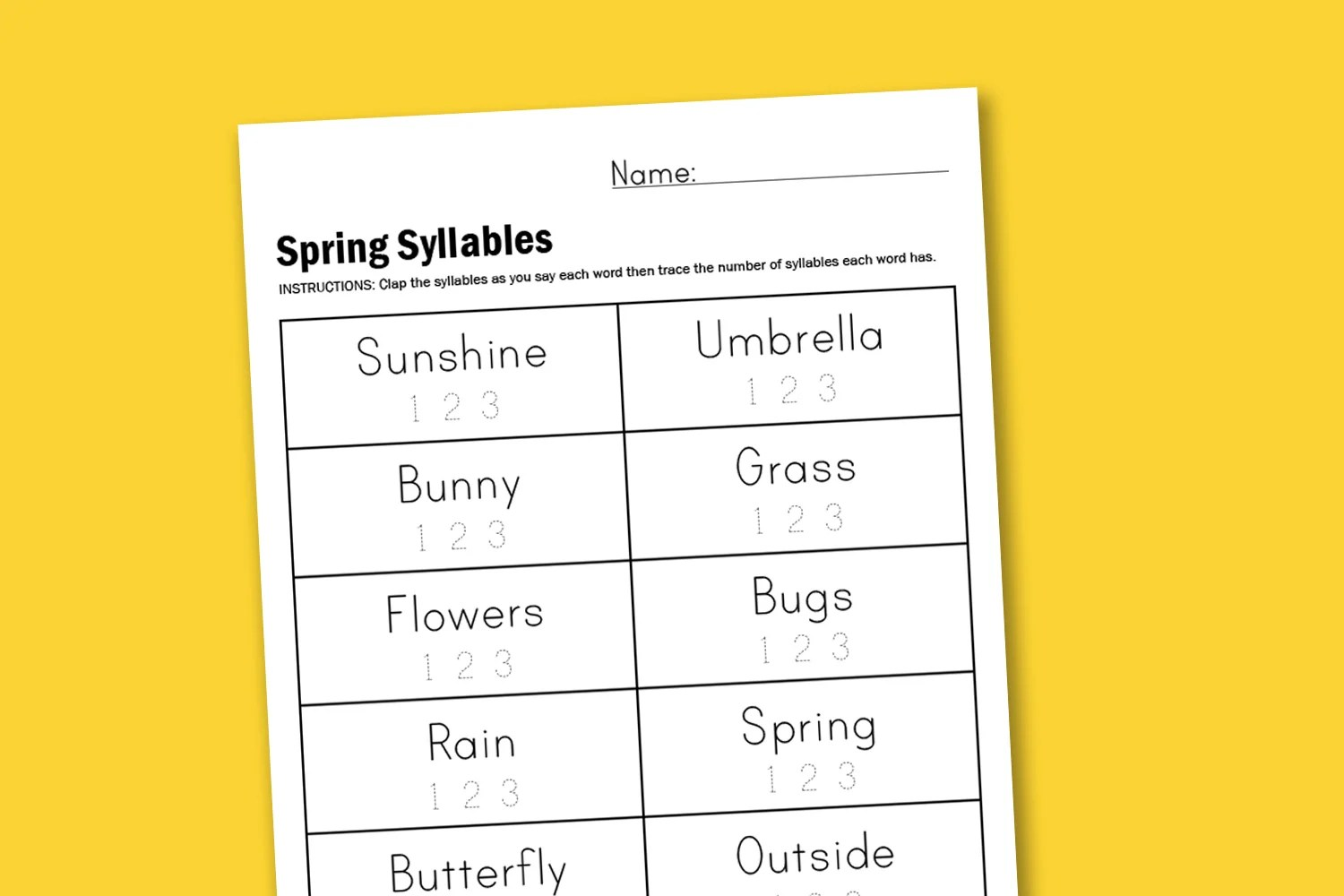 Worksheet Wednesday Spring Syllables