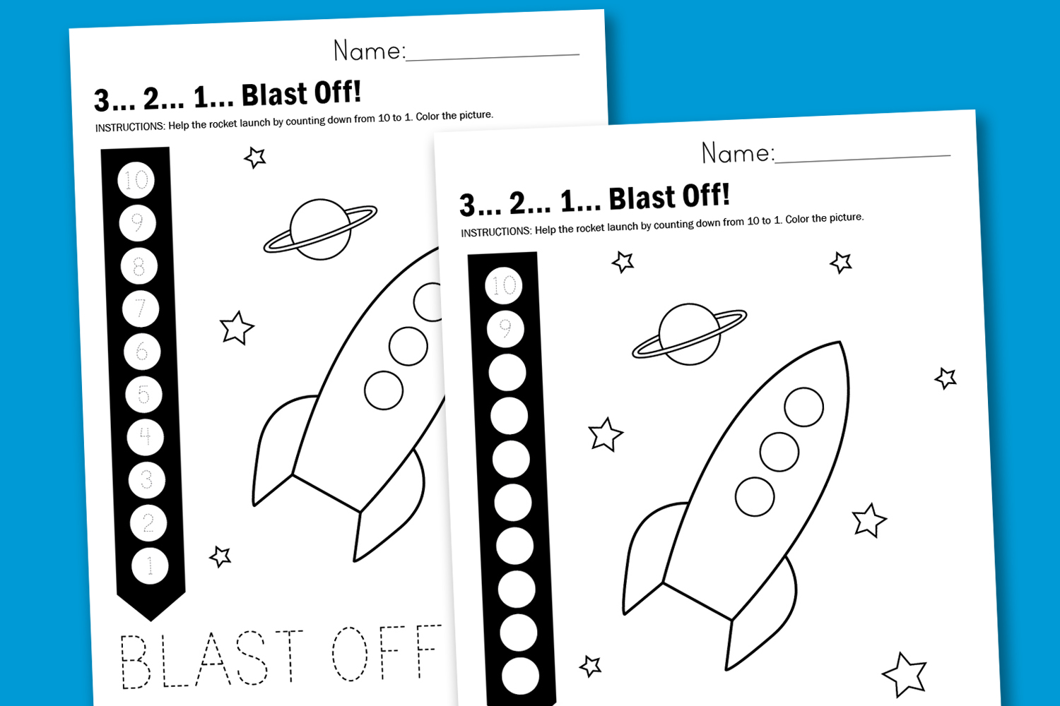 Worksheet Wednesday 3 2 1 Blast Off