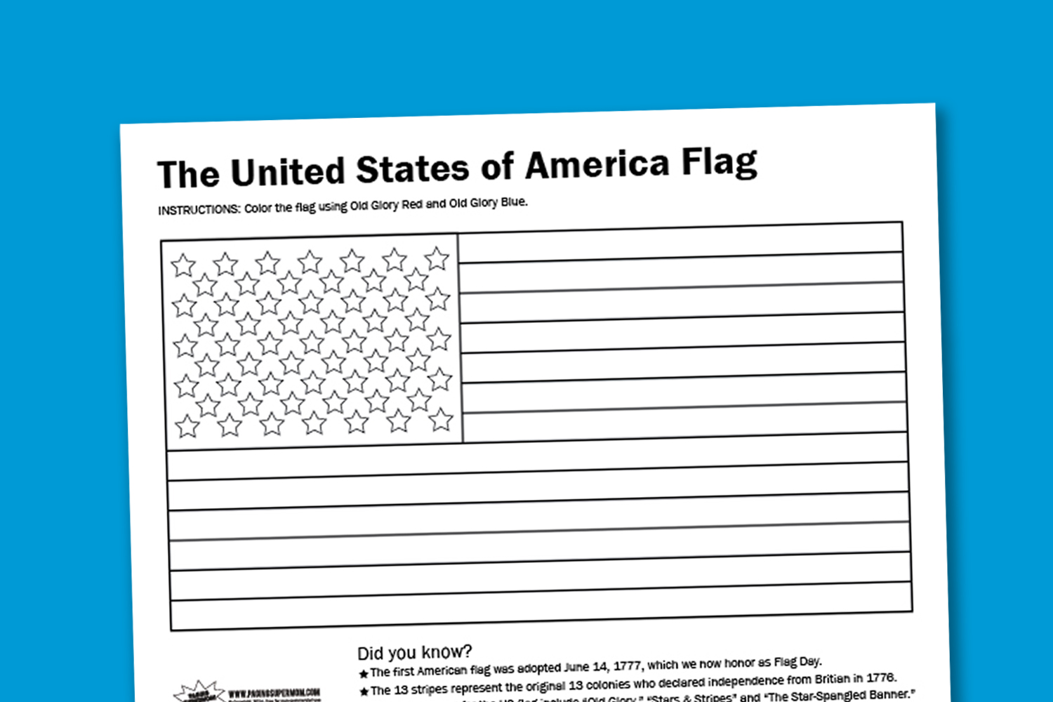 Worksheet Wednesday Usa Flag Coloring Page