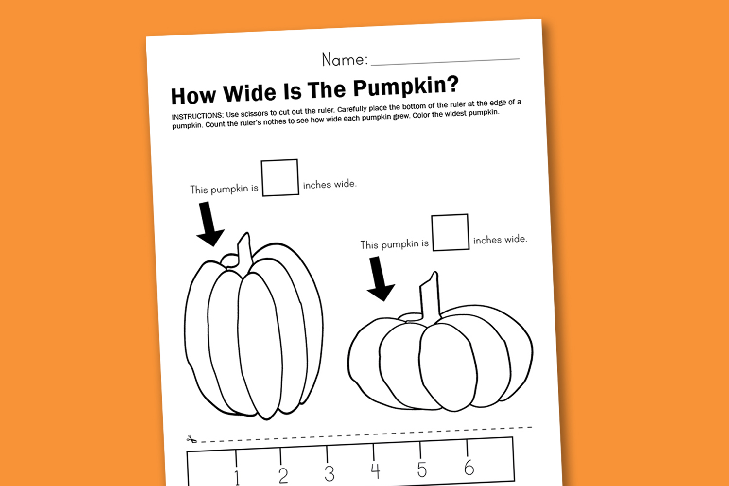 Worksheet Wednesday Measuring Pumpkins