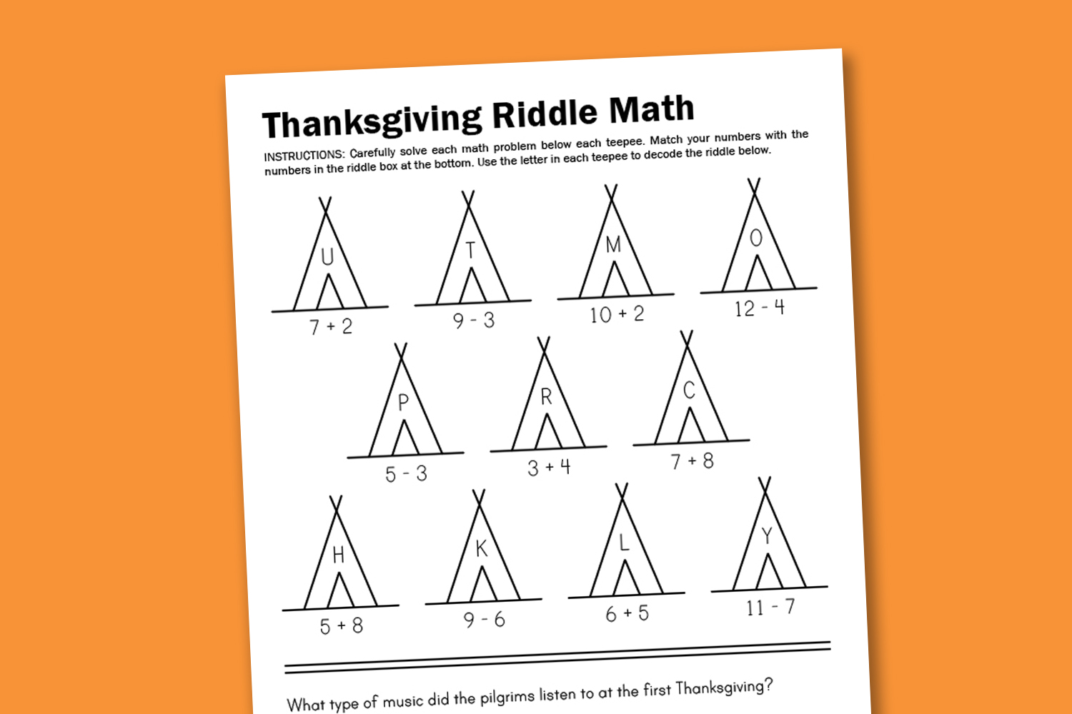 Worksheet Wednesday Thanksgiving Math Riddle
