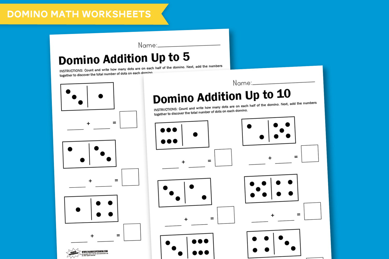 Printable Kindergarten Worksheet Domino Addition