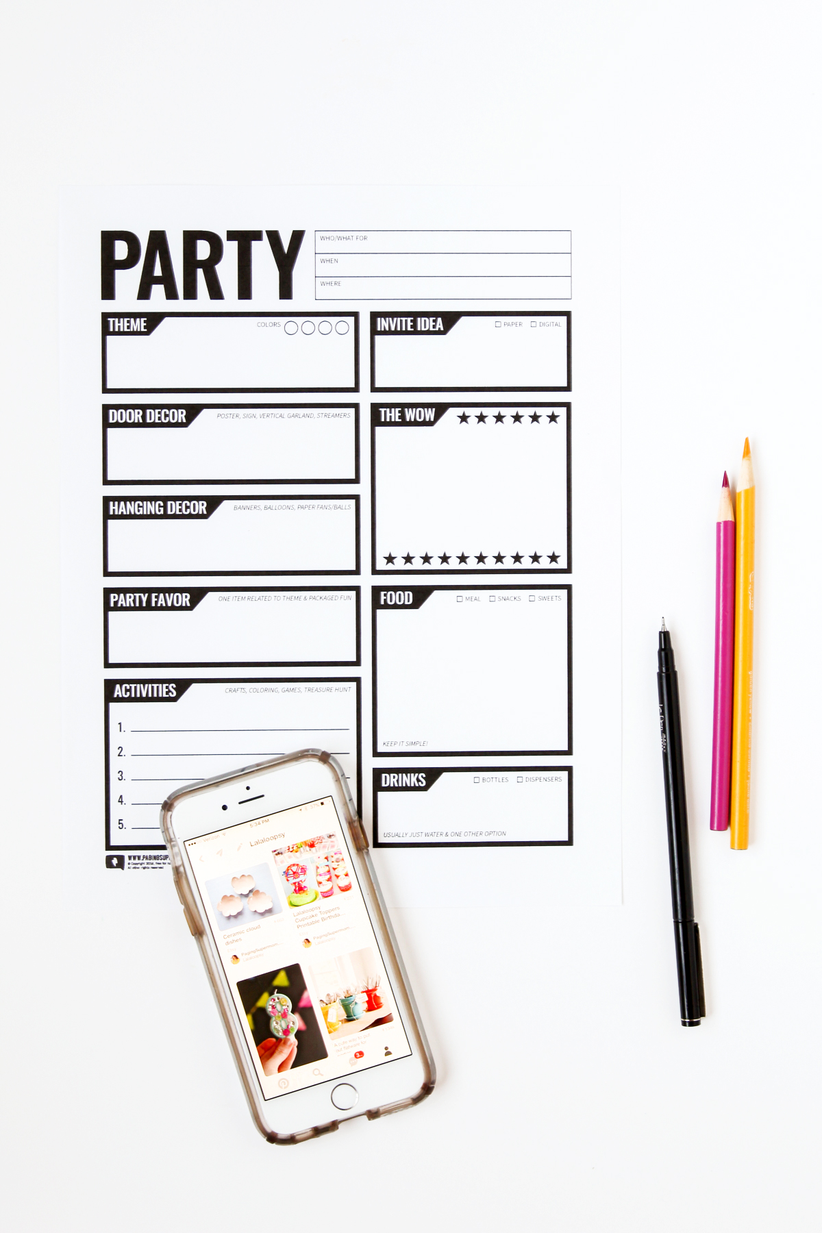 Free Party Planning Worksheet