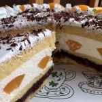 Secțiune tort cu piersici
