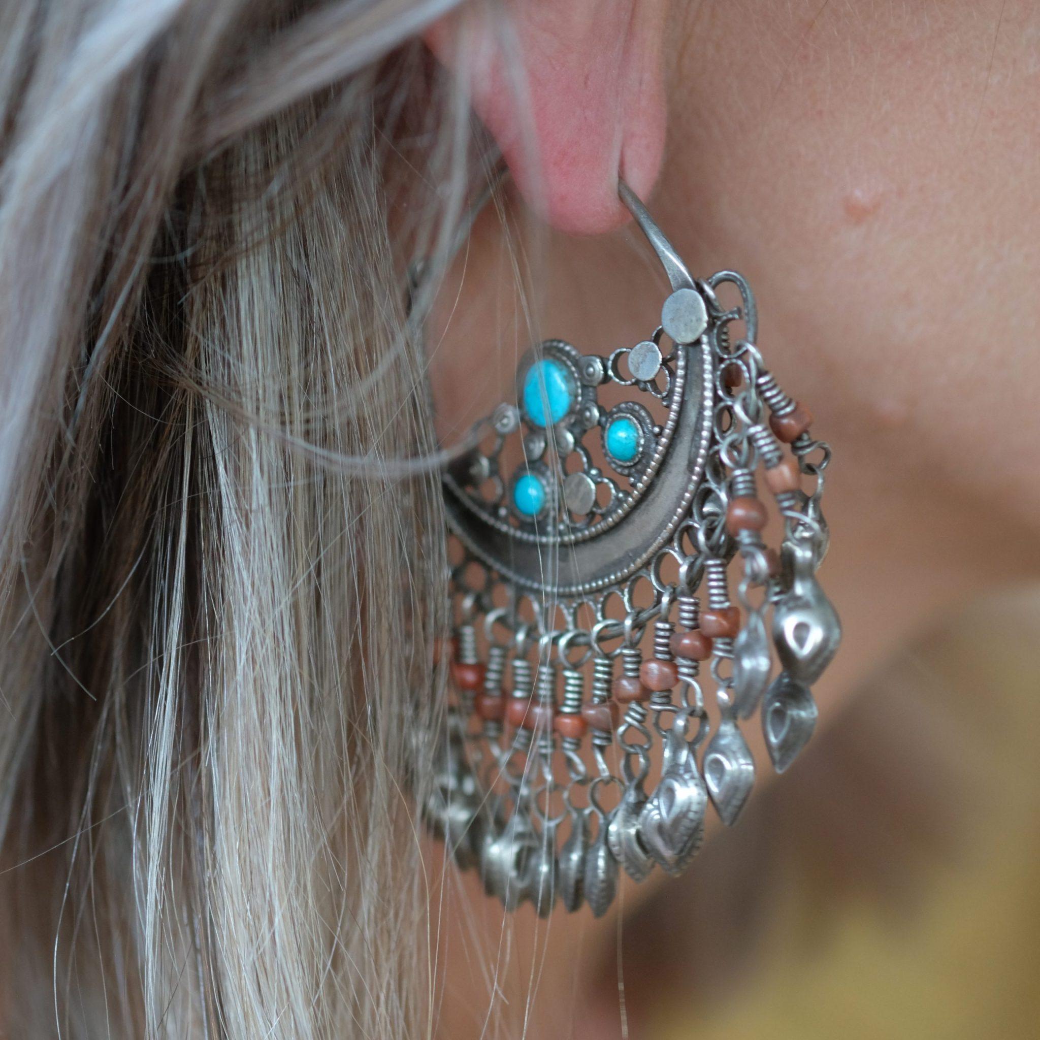 old silver earrings Uzbekistan