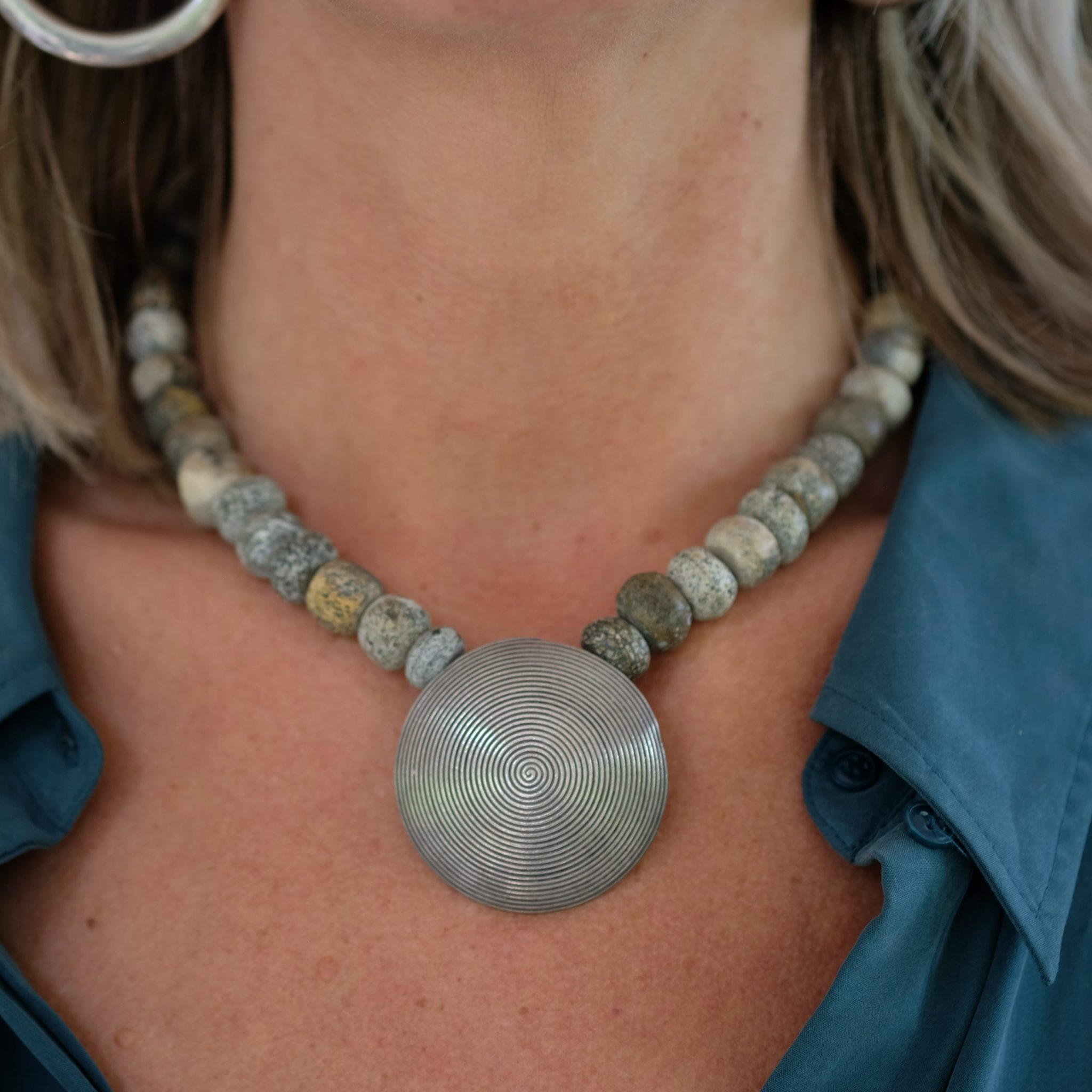 Silver round pendant from Myamar , mammoth beads from Indonesia