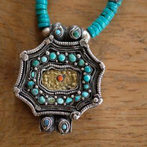 Tibetan gau with turquoise