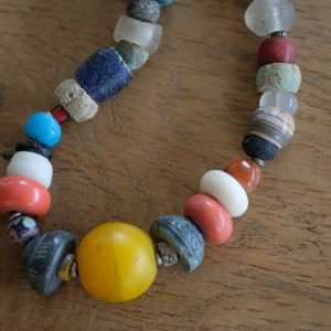 African glass beads, agate