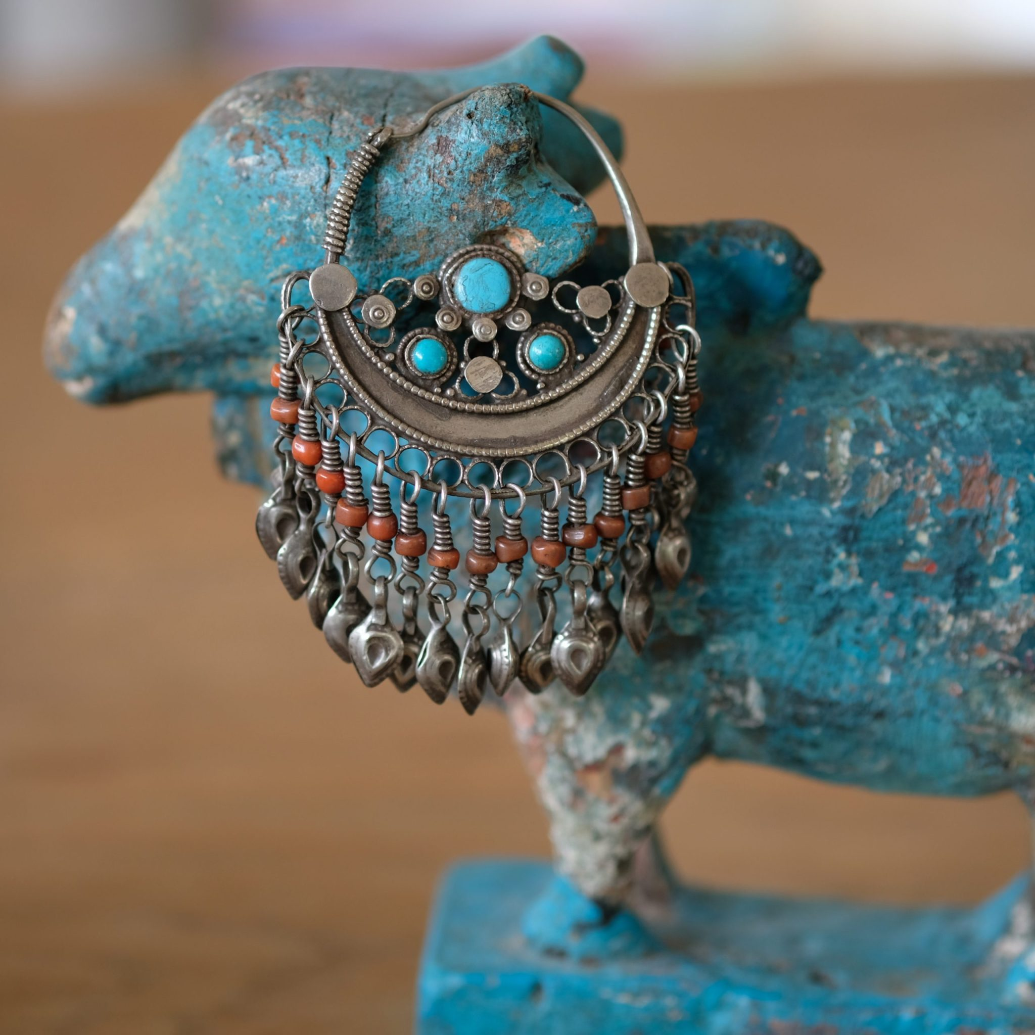 Old silver earring Uzbekistan
