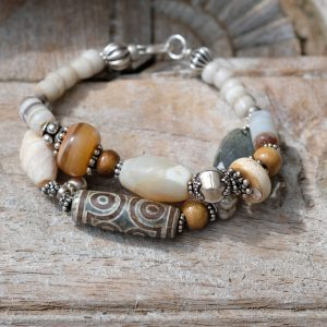 two strand bracelet of agate, dzi, Venetian glass beads and silver beads from India