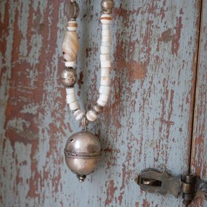 necklace with Venetian glass beads, agate and old Afghan silver pendant and beads