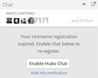IRC widget with re-register nag