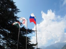 Flags of India, Russia and Banner of Peace (IRMT, Naggar)