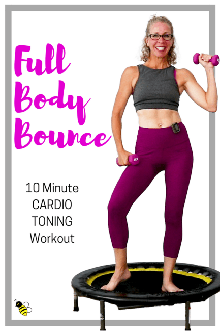 Full Body BOUNCE FUN 10 Minute CARDIO TONING Rebounder Workout STACKABLE Mini Trampoline Routine FREE Home Workout on YouTube from Pahla B Fitness