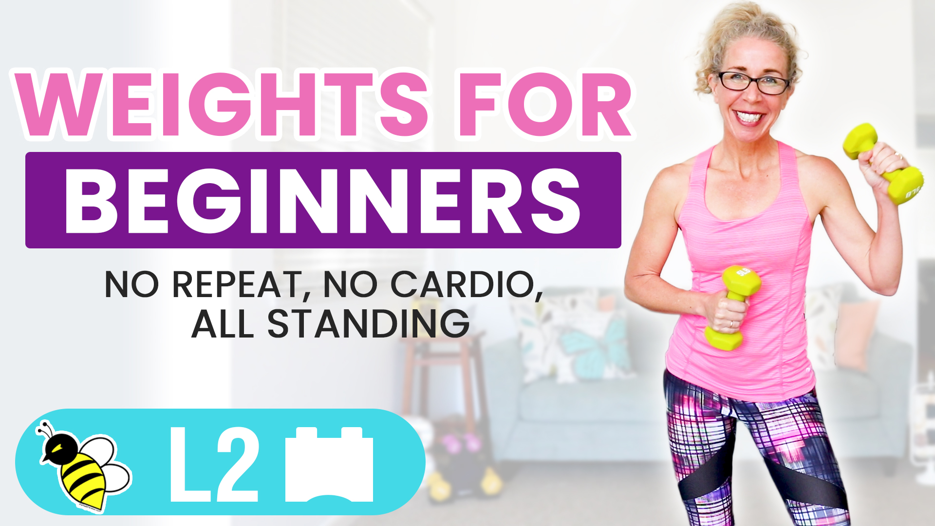 10 Minute All STANDING No Repeat WEIGHTS workout for BEGINNERS 02