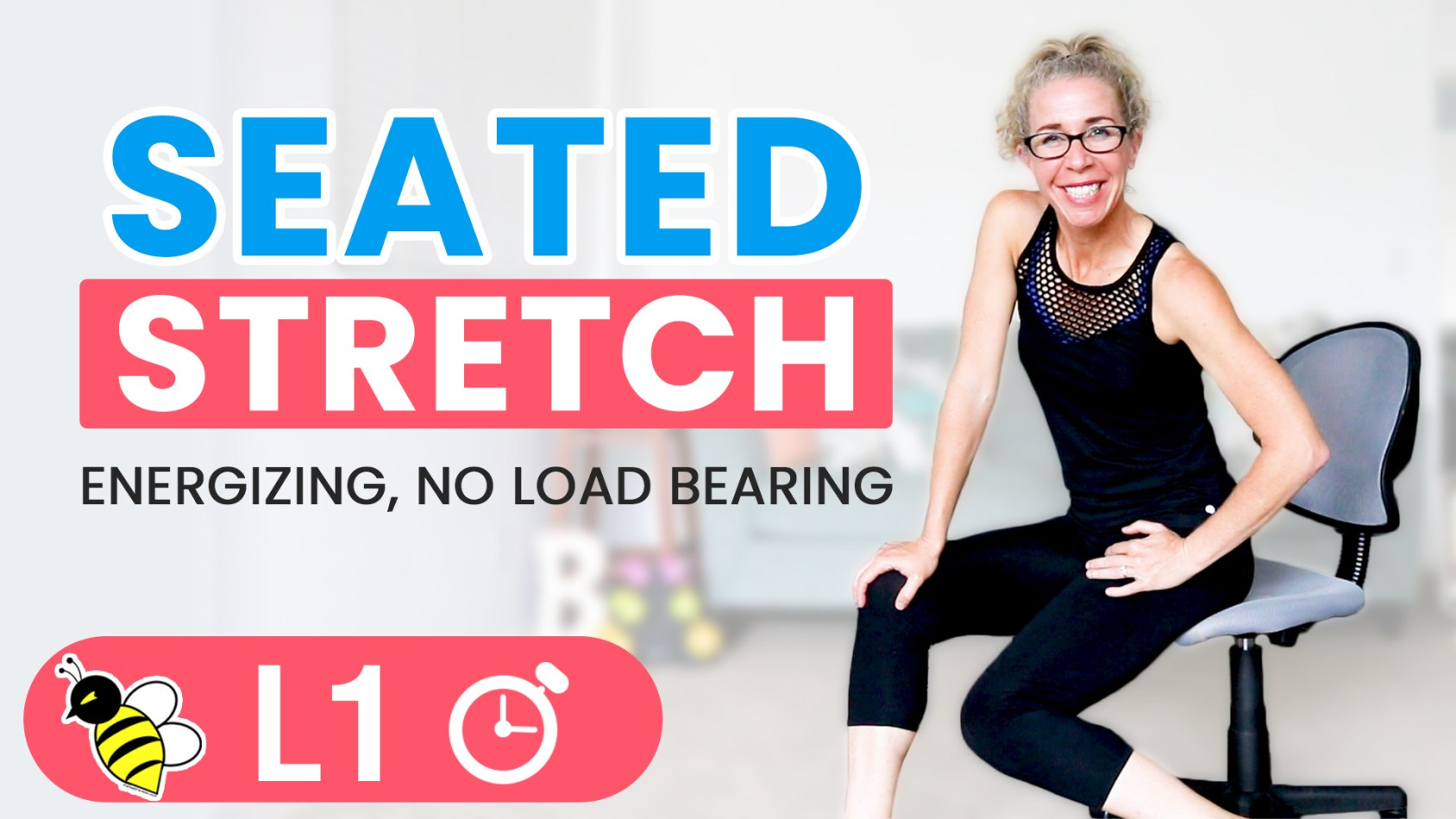 Seated STRETCH Warm Up, Cool Down or Desk Break Workout 5 Minute Friday FIX