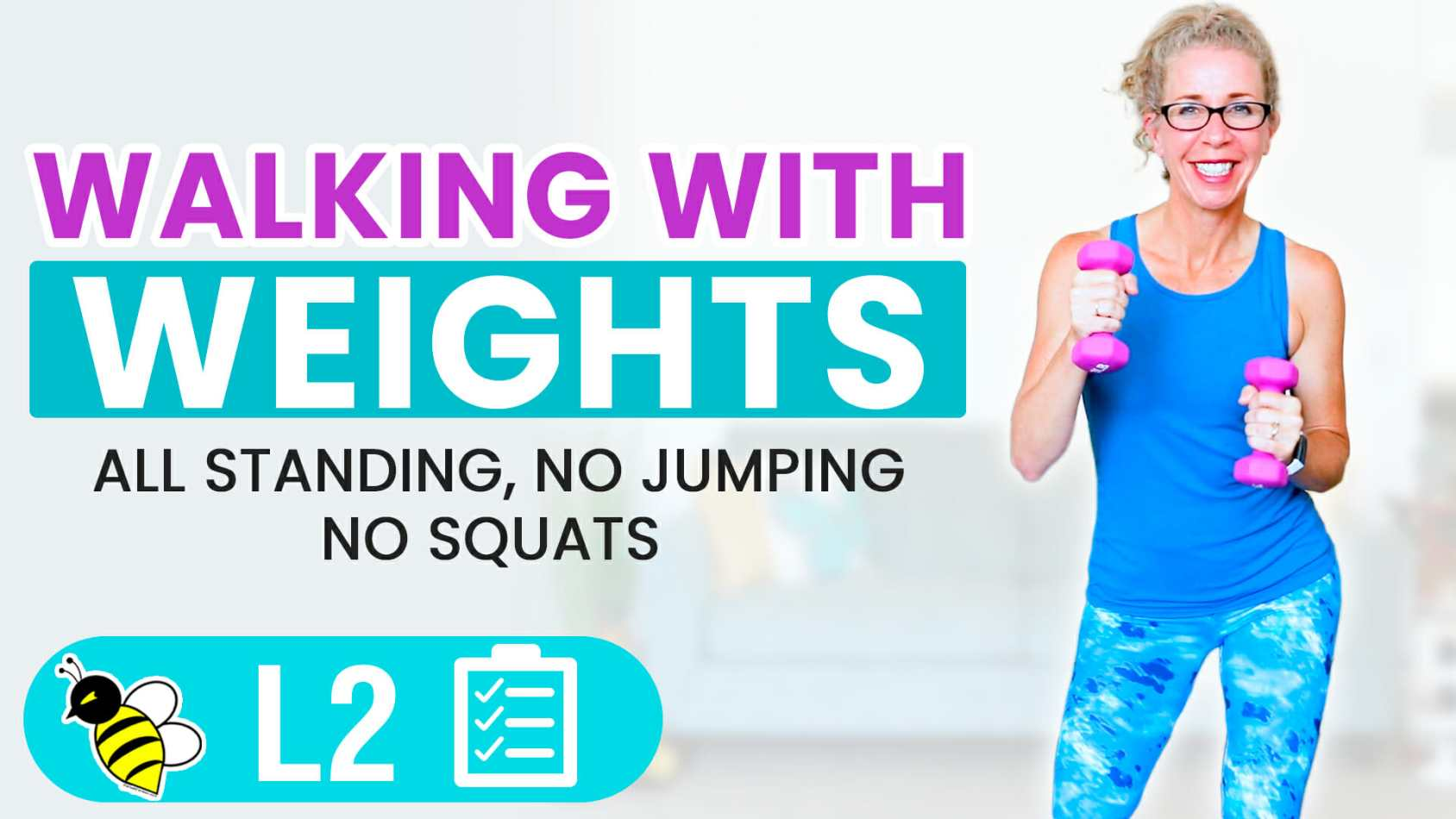 25 Minute WALKING with WEIGHTS, Knee-Friendly Cardio Toning with Light Dumbbells Workout