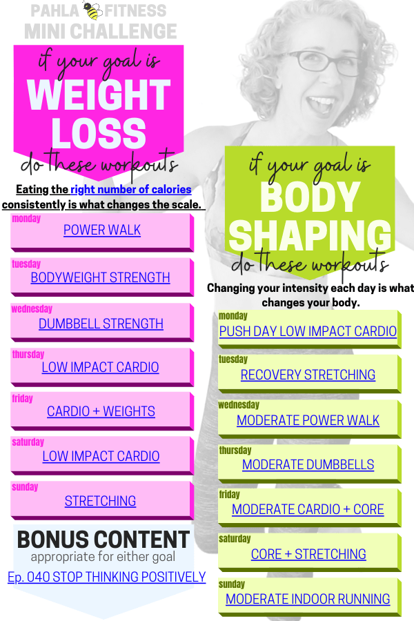 The free weekly Mini Challenge is always here for you, too, with a fun variety of workouts that are designed to help you get your goal.