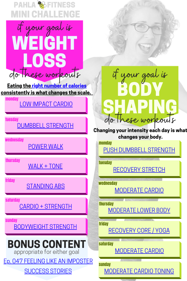 Choose a GOAL and make it happen with the Mini Challenge - your free weekly workout schedule.  It doesn't get simpler than this