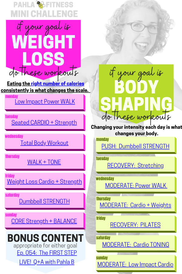 Here comes the FREE weekly Mini Challenge, ready to help you keep your plates spinning with a full week of workouts, planned and ready to go!
