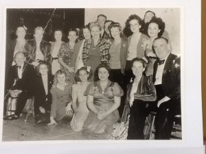Gadabouts in July 1945 In the picture are: Front row: Joe Clark, Shirley Wilmington, Betty Grierson. Elwin Pitt, Joyce Sherman, Maidie Roberts, Ern. Millican. Second tow: Mrs. J. Evans, Mrs. Gene. Quirke, Betty Nolan. Patricia O'Shea Coleman, Ann Walsh, Blanche Hunter, Emma Stilt, Alma Weatherby, Doreen Scanlan. Standing in rear: Syd Patterson, Ken McKenna, Jim Gilchrist.
