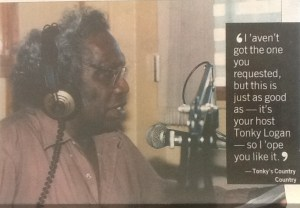 "Ronald ""Tonky"" Logan in the radio studio on-air for his Country Country Show (Townsville Bulletin Sat 7 June 2008)"