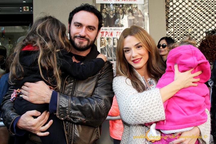 """Το τηλεοπτικό ζευγάρι (""""Το σόι σου"""",Alpha),Μελέτης Ηλίας και Βάσω Λασκαράκη με τις κόρες τους"""