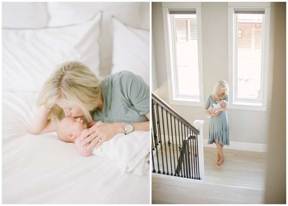 Denver family photographer - beautiful mom holding baby in new home