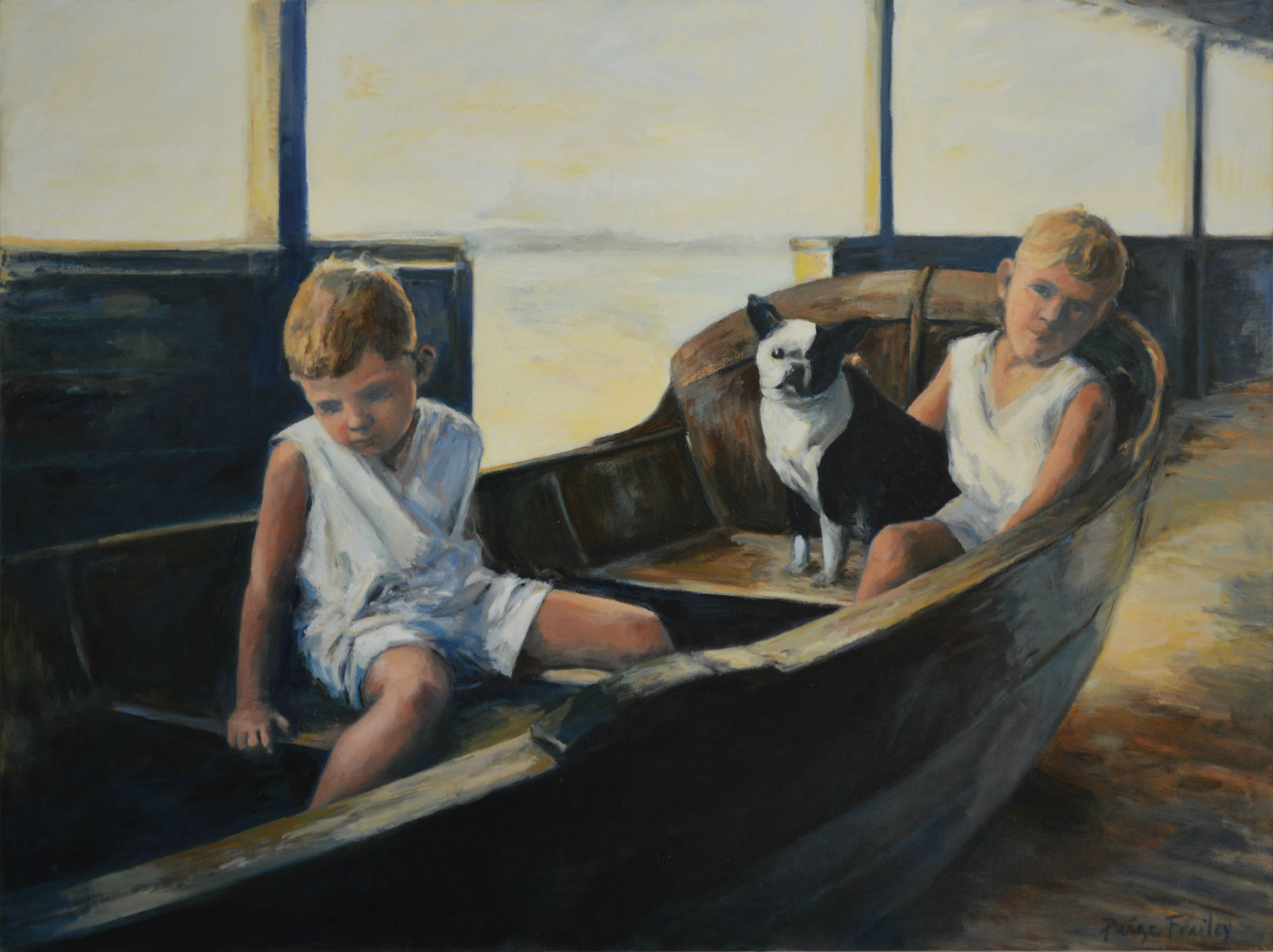 """A family vacation at the beach in New York finds my father-in-law George and his brother LeeRoy exploring an old dinghy. A small 4x6 black and white photo is what I had to work with. To me this painting is primarily a study in light and contrast. 36"""" x 48"""", Oil on Canvas"""