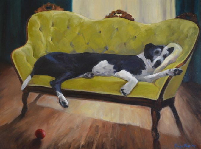 I knew I wanted to paint this giant dog for a long time but couldn't place him until I saw this small velvet settee. I enjoyed the contrasts of clumsy and genteel, black coat against chartreuse green, the formal setting and the very relaxed, without a care in the world canine. (And this is from someone who doesn't let their dogs on the furniture!)