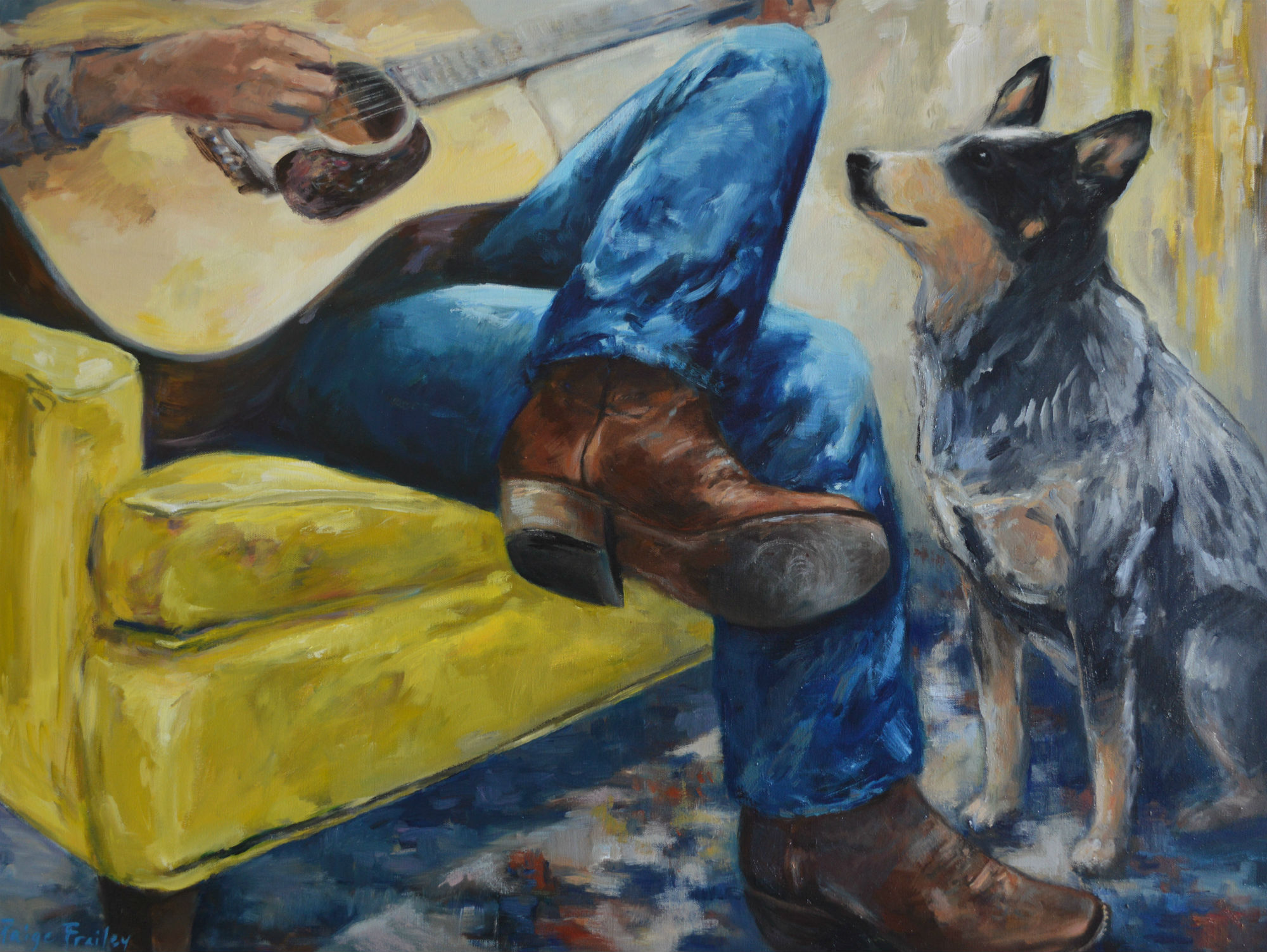 Blue heelers, in addition to being the quintessential cattle dog,  have a faithful attentive gaze, and love listening to cowboy blues. 30 x 40, Oil on Canvas