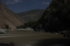 The colca river under a full moon