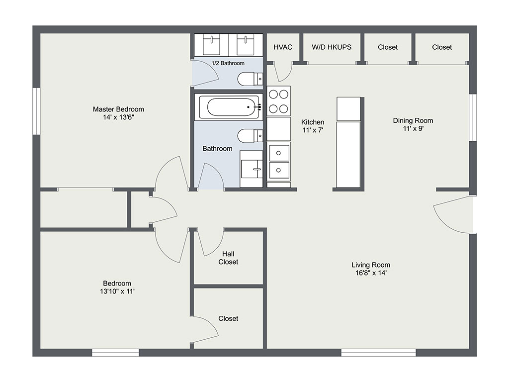 Paige Place, 2 Bedroom Floorplan