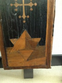 Inlaid wood geometric shapes