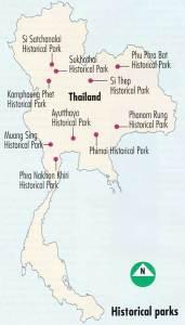 карта исторических парков таиланда