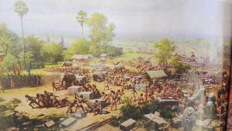 рабы строят Ангкор Ват