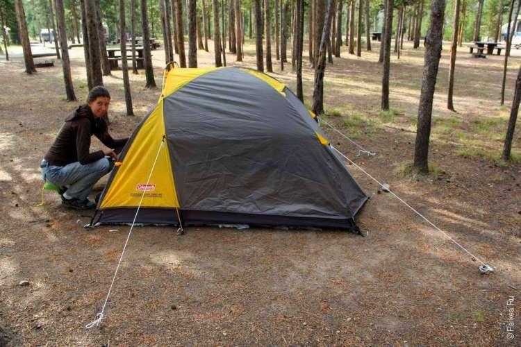 Наша палатка в Йеллоустоун