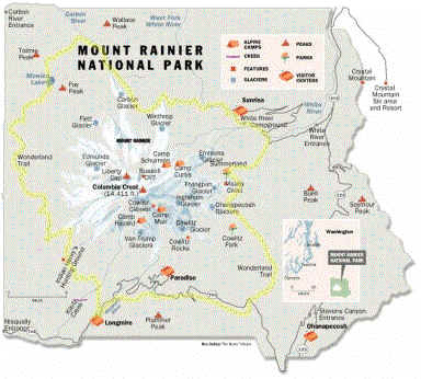 Карта нацпарка Гора Рейнир
