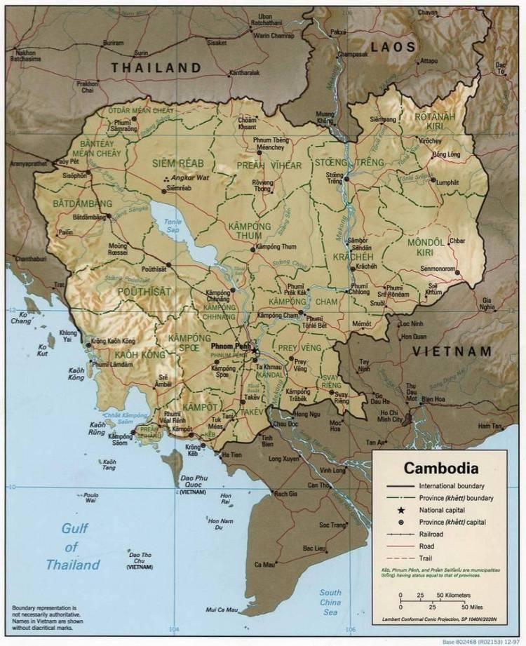 Камбоджа на карте