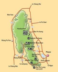 Карта национального парка Дой Луанг