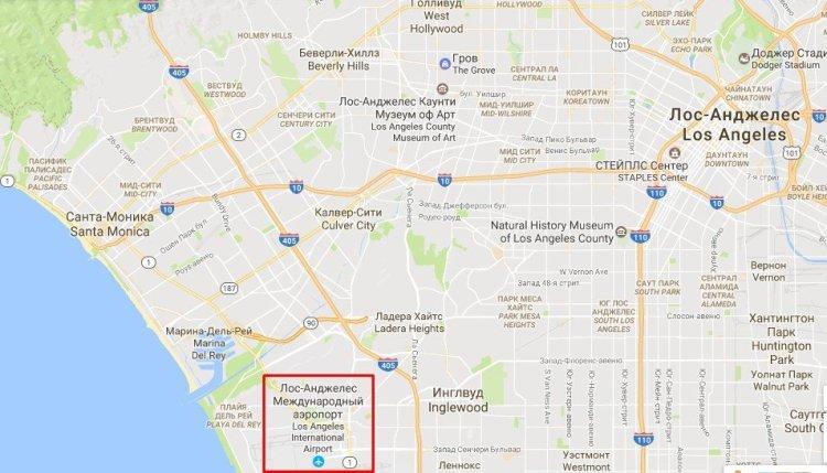 Где находится аэропорт Лос-Анджелеса