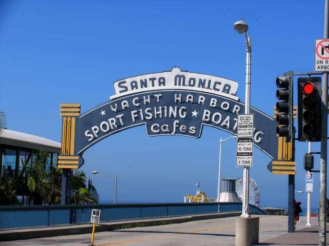 Порт Санта-Моника и пляж в Лос-Анджелесе