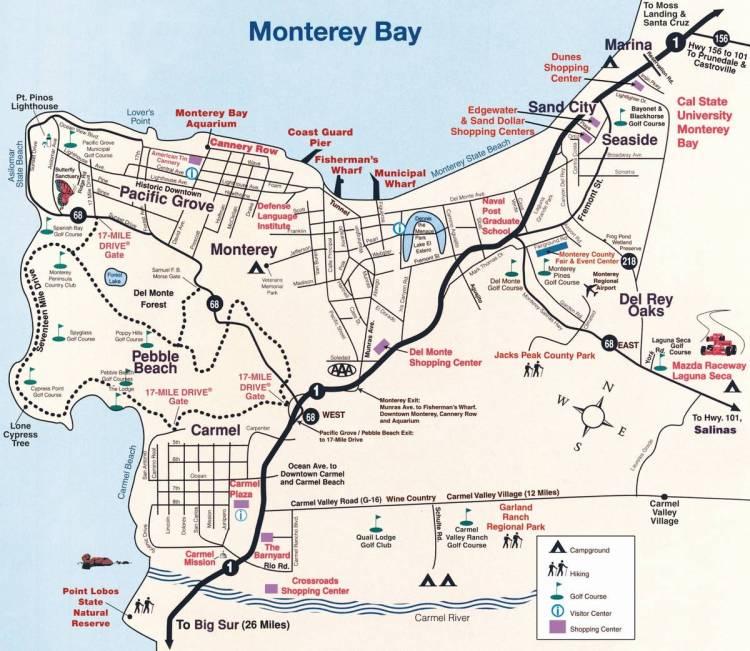 карта полуострова монтерей