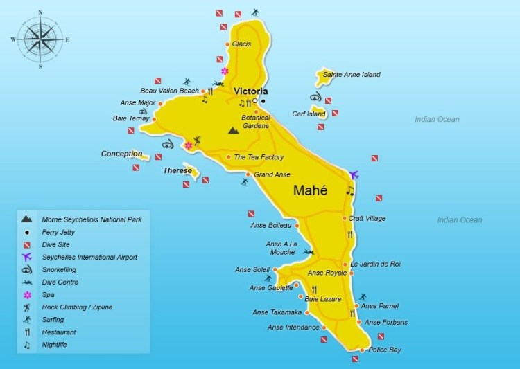 Карта острова Махе Сейшелы