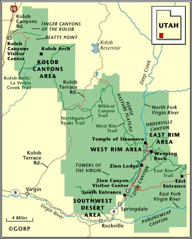 Схема парка Зайон, Юта, США