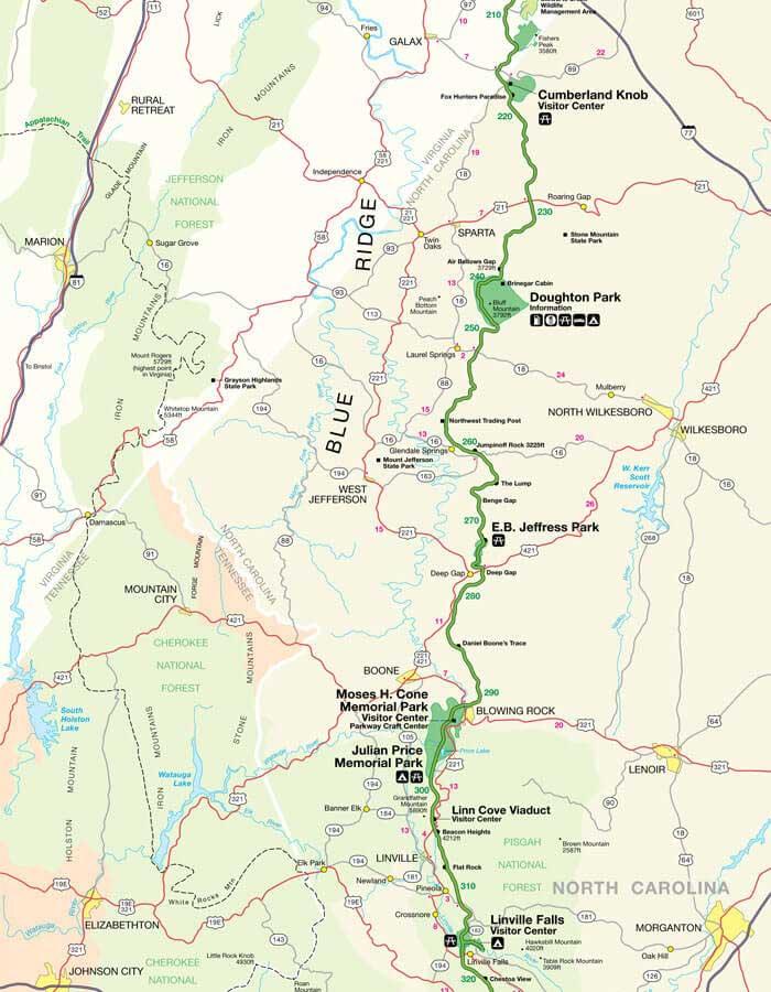 Карта дороги Блу Ридж Парквей 3