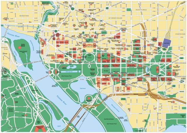 Достопримечательности Вашингтона на карте
