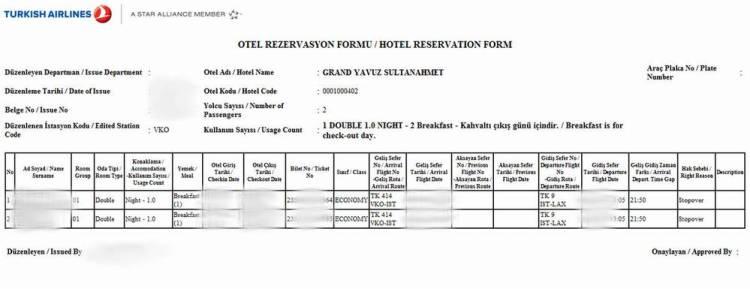 ваучер на бесплатный отель туркиш эйрлайнс