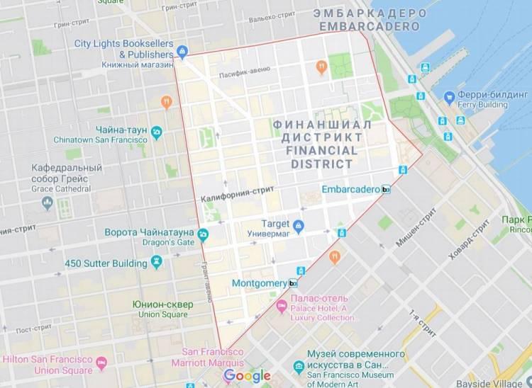Финансовый район Сан-Франциско на карте Гугл
