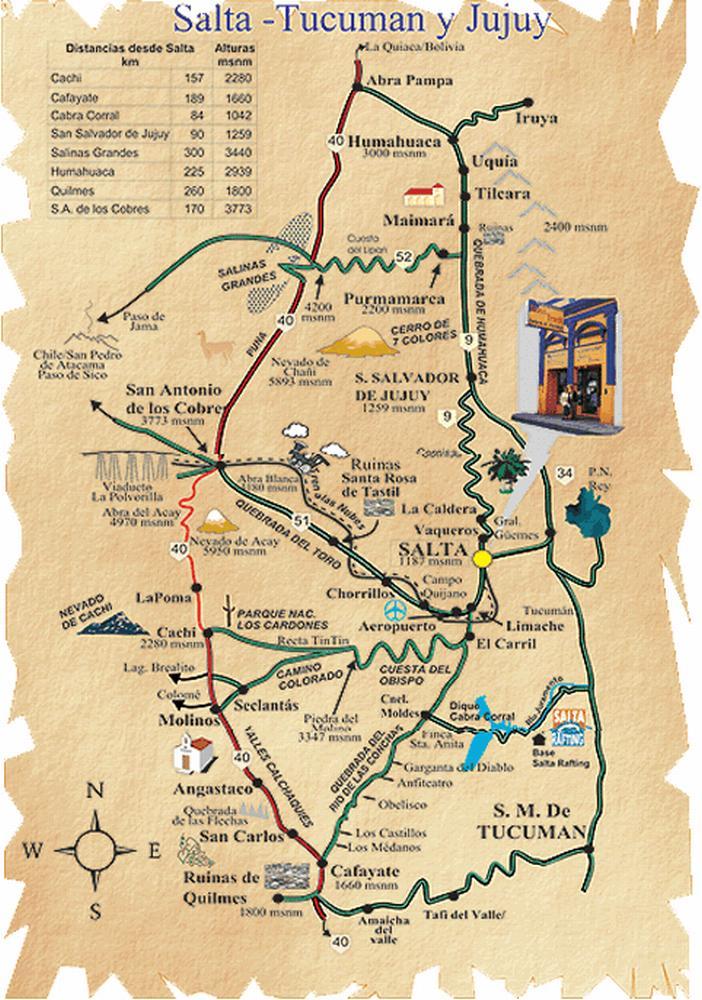 туристическая карта провинций сальта и хухуй на севере аргентины